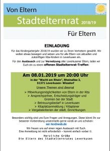 Flyer Einladung zum Offenen Treffen am 8.1.2019