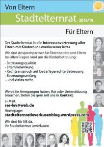 Plakat des Stadtelternrats Leverkusen 2018/2019