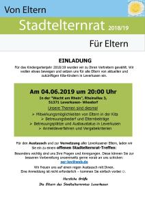 Einladung zum Offenen Treffen des SER Leverkusen am 4.6.2019
